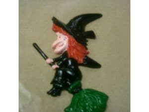 Plastic Cake Decoration: Halloween Witch on a Broom