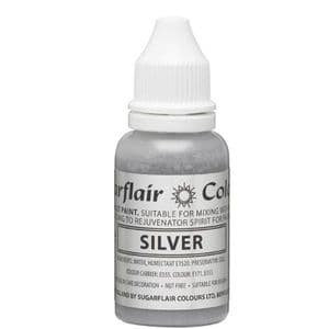 Sugarflair Sugartint Droplet Colour/Paint 14ml: Silver