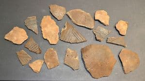 A group of 17 x assorted larger shards of Early Anglo Saxon Pagan period pottery, Suffolk (L2)  SOLD