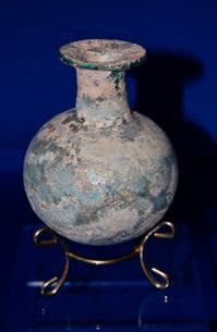 A large and superb Roman blue/green glass bulbous flask, Ex Charterhouse Public School Collection. SOLD