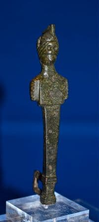 A large, rare and impressive Roman bronze figurative clasp from a casket or chest, nicely mounted. SOLD