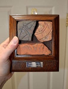 A nice group of Medieval decorative floor tile segments in a vintage frame, Staffordshire. SOLD