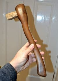 A nice Neolithic Danish flint axe,  re-hafted in a prototypical antique wooden handle SOLD