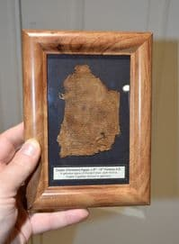 A nicely framed piece of Ancient Coptic (Christian) Egyptian fabric from a shroud or garment SOLD