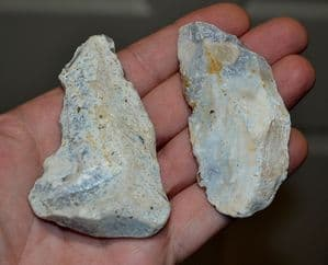 A pair of good sized Paleolithic Neanderthal flint flake knife tools, France 1960's (L3) SOLD