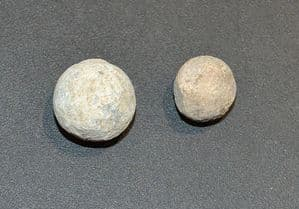 A pair of lead musket balls from Foxy Hill, Lincs. Battle of Gainsborough 1643 (K7) SOLD