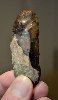 "A superb, well worked Paleolithic flint ""backed knife"" (left handed example),  Warwickshire  SOLD"