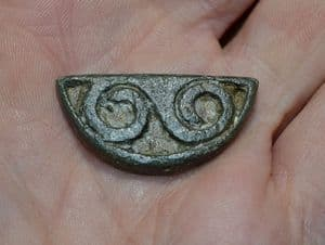 A very nice and ornate Celtic Semi-Circular chip carved bronze Applique / Inlay, Cambs.  SOLD