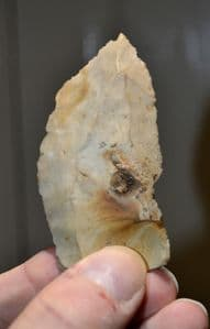 A very nice Upper Palaeolithic flint flake spear head from Orchaise, Central France, found 1909. SOLD