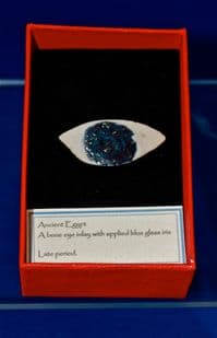 An Ancient Egyptian bone Eye inlay from a Sarcophagus with applied glass pupil. SOLD