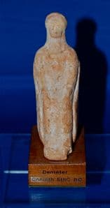 An excellent mounted Ancient Greek terracotta stattuette of the Goddess Demeter, found at Corinth. SOLD