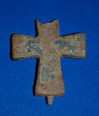 Byzantine bronze half-section of a large Reliquary Cross pendant [Crucifix]. SOLD