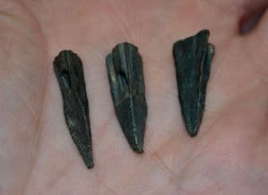 Nice condition, larger Ancient Greek / Graeco-Scythian bronze Tri-sided / Tri-lobed socketed arrowheads (Priced each) SOLD
