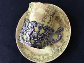 Coalport Espresso can & saucer with silver holder - yellow ground