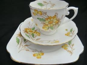 Roslyn China Art Deco tea trio