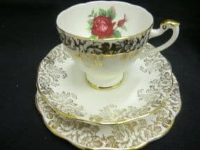 Roslyn china Roses & Gilt floral trio