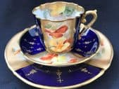Stunning NAUTILUS tea trio - Navy /Handpainted