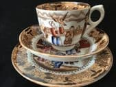 Victorian tea trio boy with dog (cup saucer and plate set)