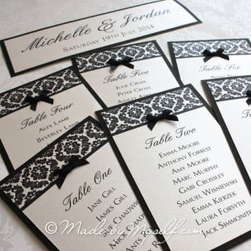 Damask Table Cards (for you to mount yourself)