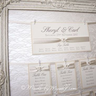 HIRE ONLY - Vintage Lace Table Plan with Hanging Ribbon Heart Table Cards