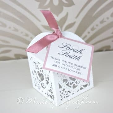 Pretty Laser Cut Heart Favour Box - supplied empty ready for you to fill