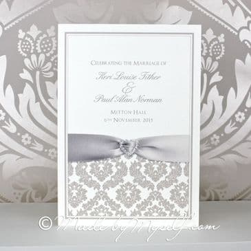 Ribbon Heart Damask Order of the Day - Printed