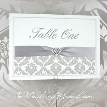 Ribbon Heart Damask Table Number
