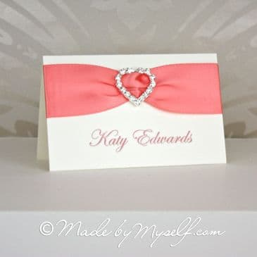 Ribbon Heart Place Card Coral