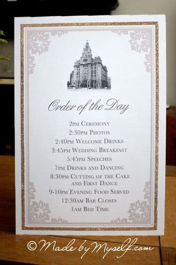 Venue Order of the Day Sign with Glitter Border