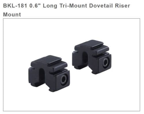 """BKL 181 0.6"""" Tri Mount Risers for 3/8"""" / 9-11mm Dovetail bases 17mm high"""