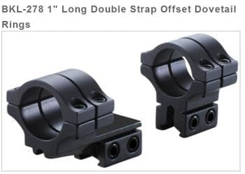 """BKL278 Double Strap 3/8""""-11mm Dovetail OFFSET 1"""" Mount Rings - High profile"""