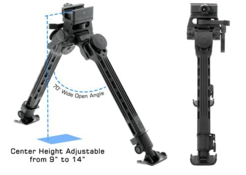 Leapers UTG Big Bore Full Stability Bipod 9-14
