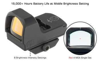 Leapers UTG OP3 SL Red Dot Sight 4 MOA Picatinny/Docter Side Load Battery OP-RDM20CT