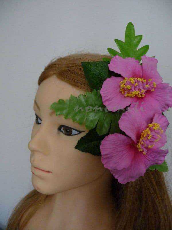 Poara /Barrette feuillages double hibiscus rose candy