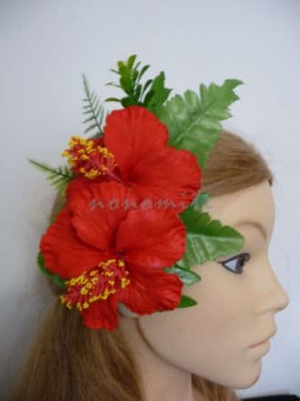Poara /Barrettes feuillages double hibiscus rouge