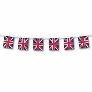 10m Large Flag Plastic Bunting - 30 Flags - Union Jack - Great Britain
