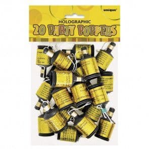 20 Holographic Party Poppers - Glitz Gold