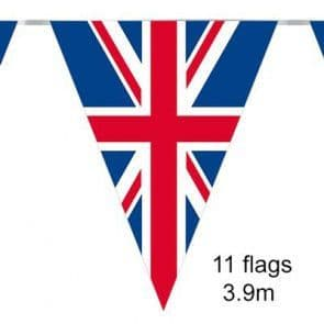 3.9m Party Bunting - Union Jack - Great Britain - 11 Flags