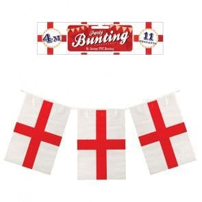 4m Party Bunting - England - St. George Cross - 11 Flags
