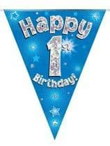 Blue Happy 1st Birthday Holographic Flag Banner