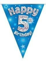 Blue Happy 5th Birthday Holographic Flag Banner
