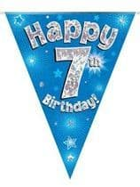Blue Happy 7th Birthday Holographic Flag Banner