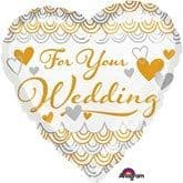 """For Your Wedding Heart Shaped 18"""" Foil Balloon"""