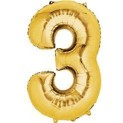 Gold Number 3 Balloon - 16