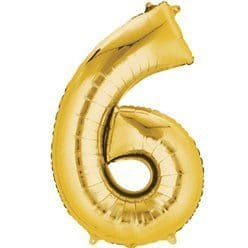 Gold Number 6 Balloon - 16