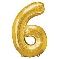 Gold Number 6 Balloon - 34