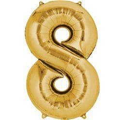 Gold Number 8 Balloon - 16