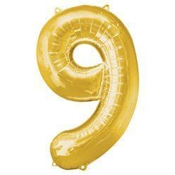 Gold Number 9 Balloon - 34