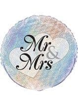 """Mr & Mrs Holographic 18"""" Foil Balloon"""