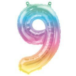 Pastel Ombre Number 9 Balloon - 16